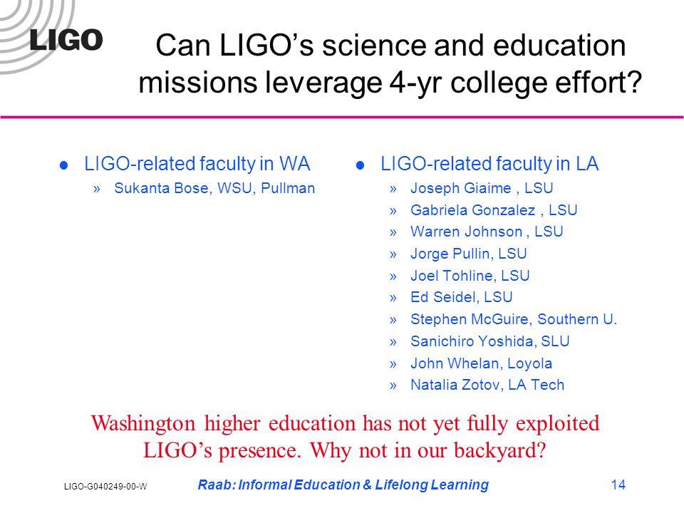 LIGO-G040249-00-W Raab: Informal Education & Lifelong Learning14 Can LIGO's science and education missions leverage 4-yr college effort.