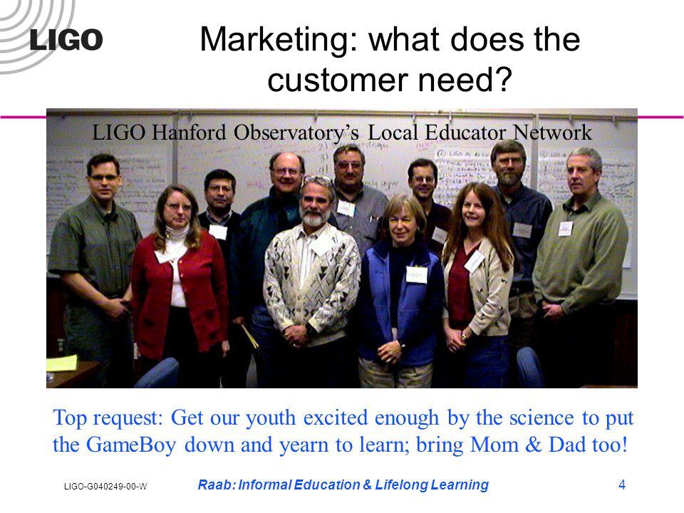 LIGO-G040249-00-W Raab: Informal Education & Lifelong Learning4 Marketing: what does the customer need.