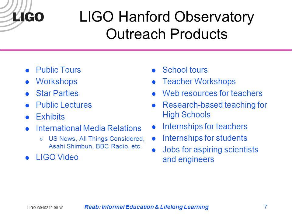 LIGO-G040249-00-W Raab: Informal Education & Lifelong Learning7 LIGO Hanford Observatory Outreach Products Public Tours Workshops Star Parties Public Lectures Exhibits International Media Relations »US News, All Things Considered, Asahi Shimbun, BBC Radio, etc.