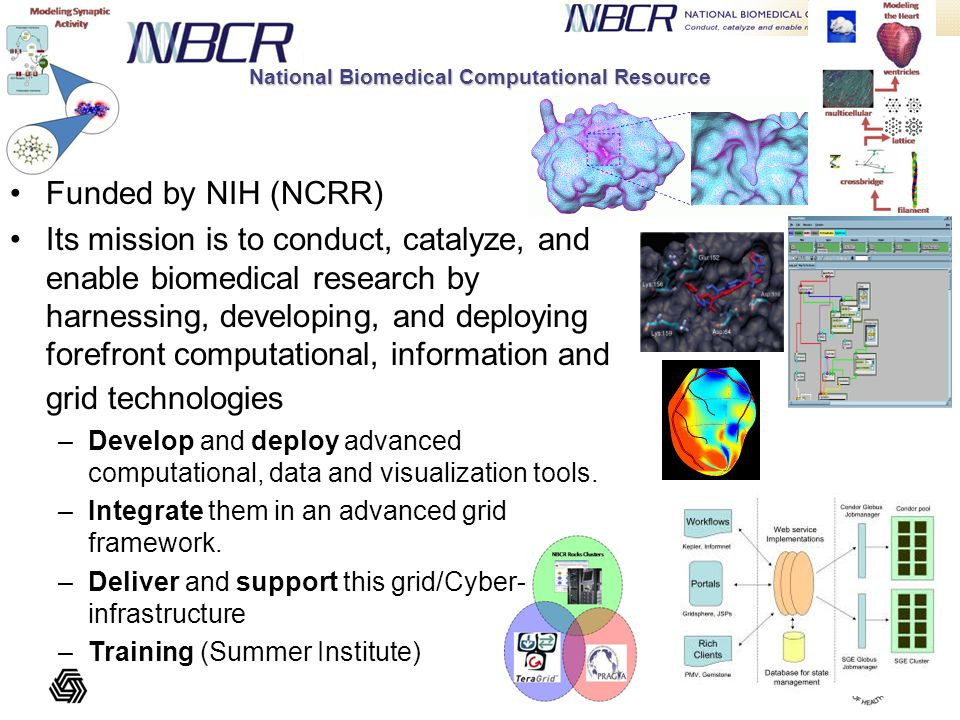 Funded by NIH (NCRR) Its mission is to conduct, catalyze, and enable biomedical research by harnessing, developing, and deploying forefront computational, information and grid technologies –Develop and deploy advanced computational, data and visualization tools.