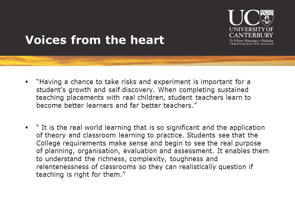 Voices from the heart  Having a chance to take risks and experiment is important for a student's growth and self discovery.