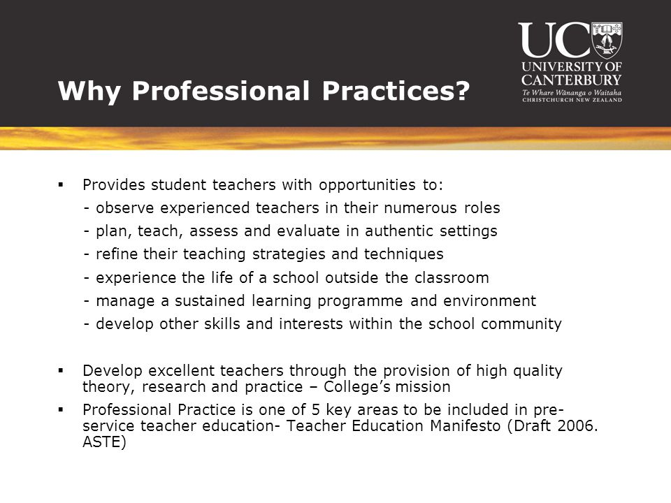 Why Professional Practices.