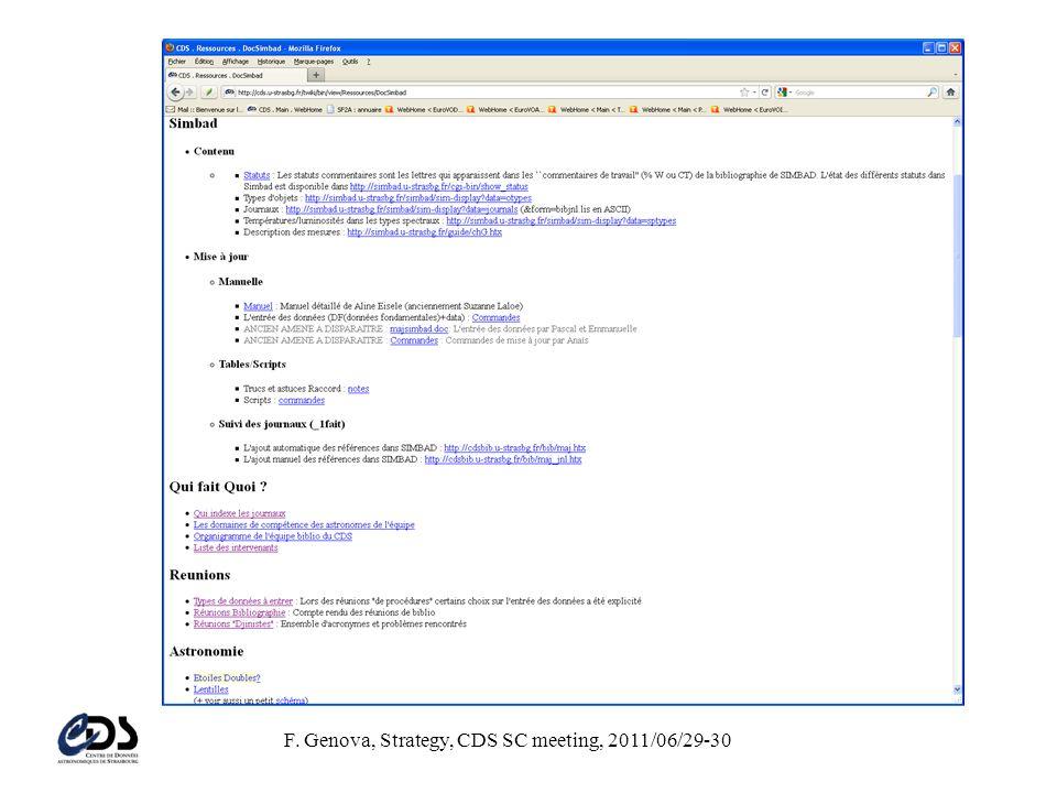 F. Genova, Strategy, CDS SC meeting, 2011/06/29-30