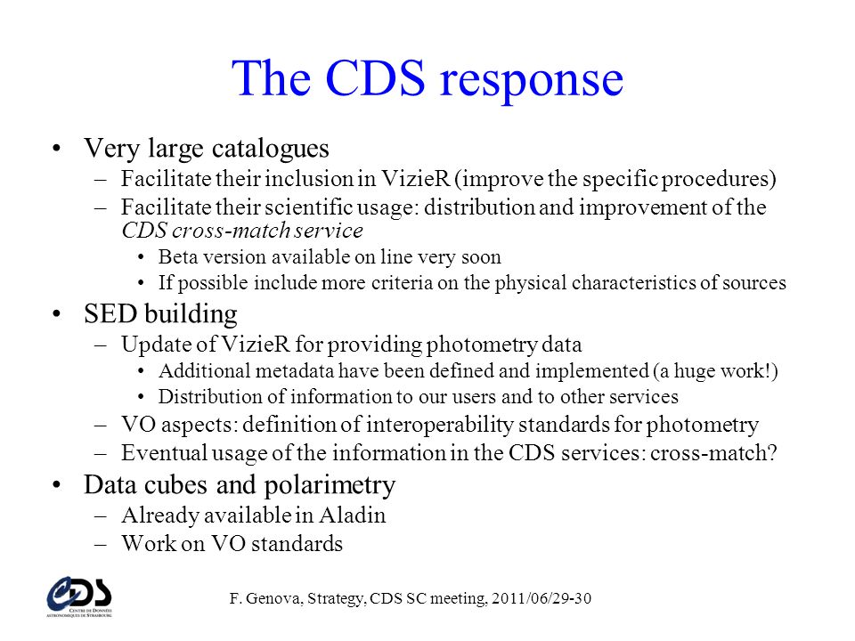 F. Genova, Strategy, CDS SC meeting, 2011/06/29-30 Smart Portal Suggestions Categorize user input