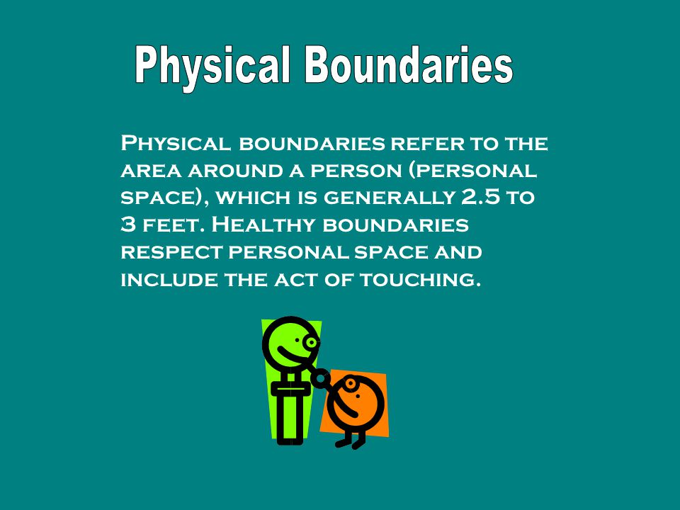 Physical boundaries refer to the area around a person (personal space), which is generally 2.5 to 3 feet.