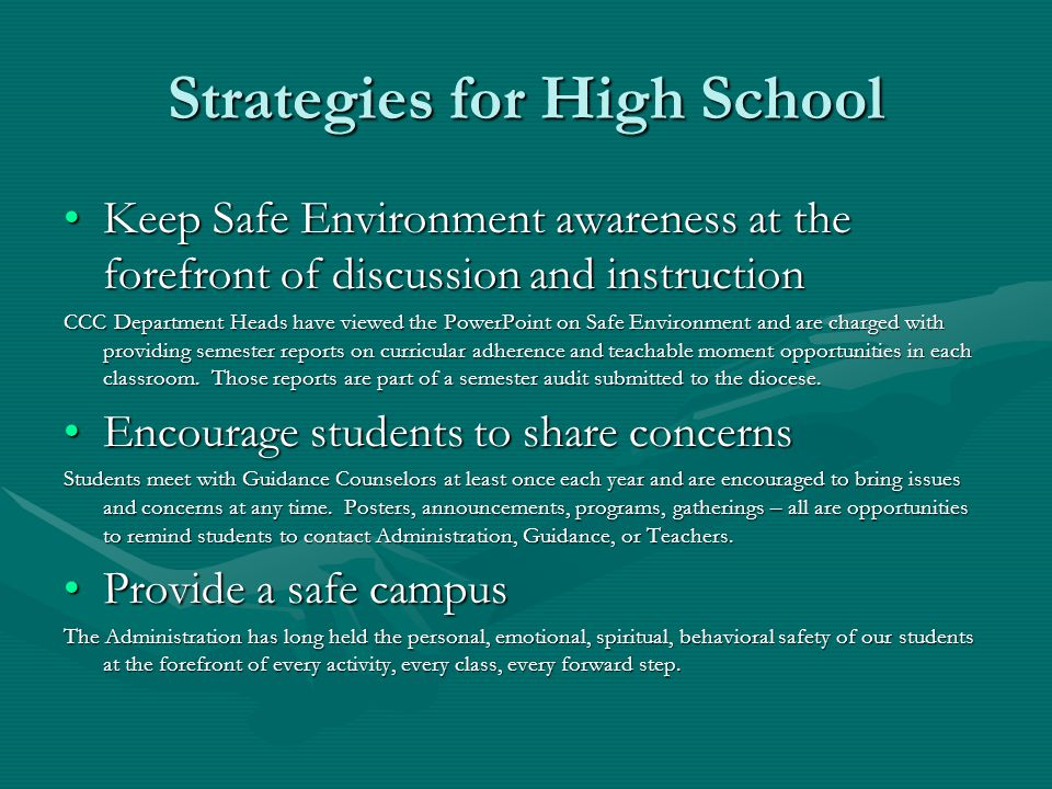 Strategies for High School Keep Safe Environment awareness at the forefront of discussion and instructionKeep Safe Environment awareness at the forefr