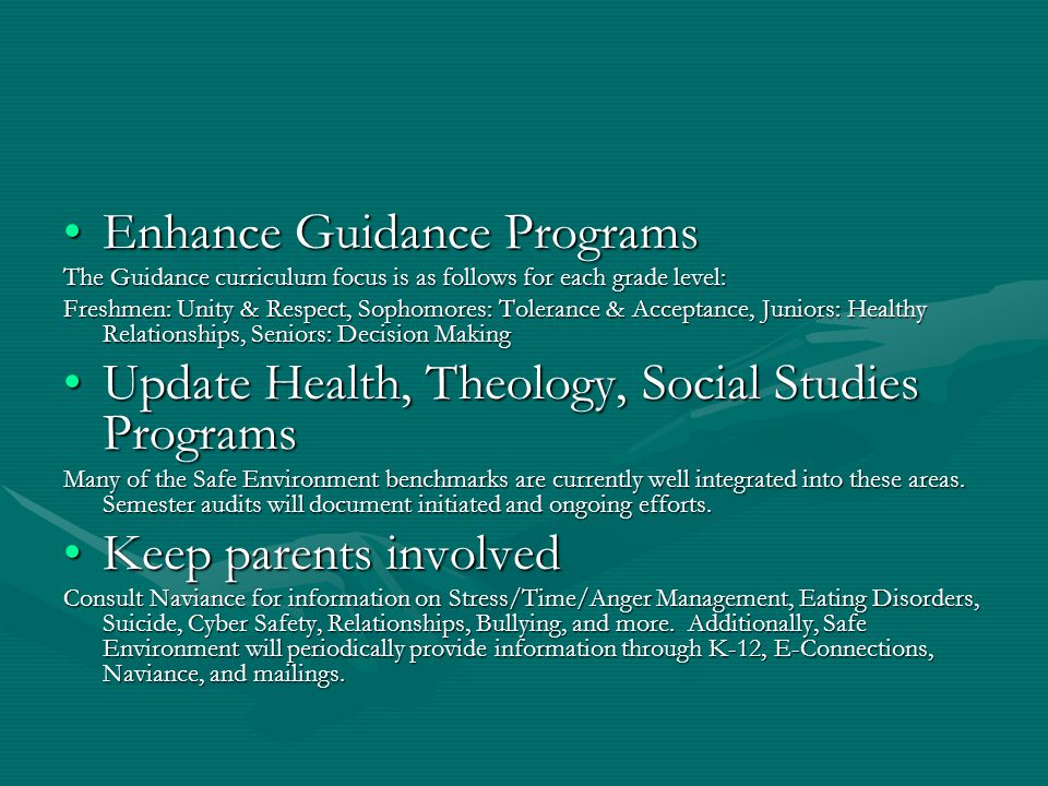 Enhance Guidance ProgramsEnhance Guidance Programs The Guidance curriculum focus is as follows for each grade level: Freshmen: Unity & Respect, Sophomores: Tolerance & Acceptance, Juniors: Healthy Relationships, Seniors: Decision Making Update Health, Theology, Social Studies ProgramsUpdate Health, Theology, Social Studies Programs Many of the Safe Environment benchmarks are currently well integrated into these areas.