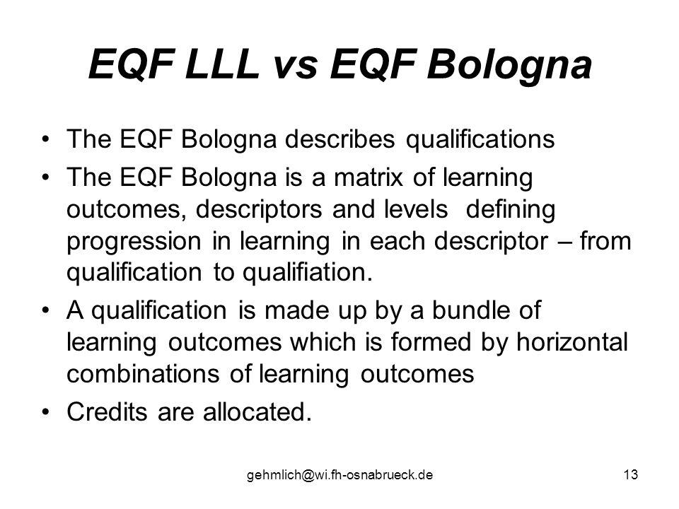 gehmlich@wi.fh-osnabrueck.de13 EQF LLL vs EQF Bologna The EQF Bologna describes qualifications The EQF Bologna is a matrix of learning outcomes, descr
