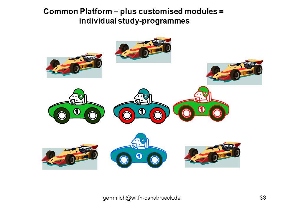 gehmlich@wi.fh-osnabrueck.de33 Common Platform – plus customised modules = individual study-programmes