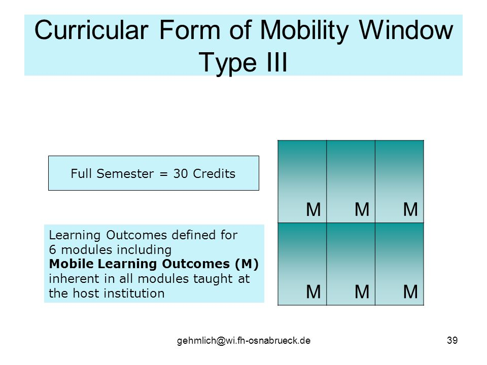 gehmlich@wi.fh-osnabrueck.de39 Curricular Form of Mobility Window Type III Full Semester = 30 Credits MMM MMM Learning Outcomes defined for 6 modules