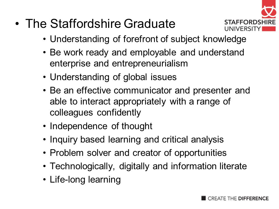 The Staffordshire Graduate Understanding of forefront of subject knowledge Be work ready and employable and understand enterprise and entrepreneuriali