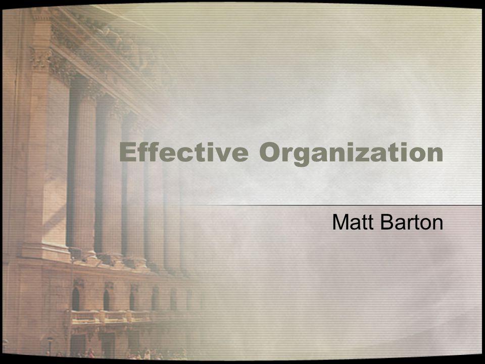 Effective Organization Matt Barton