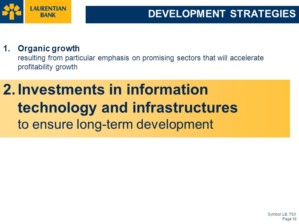 Symbol: LB, TSX Page 19 DEVELOPMENT STRATEGIES 1.Organic growth resulting from particular emphasis on promising sectors that will accelerate profitability growth 2.Investments in information technology and infrastructures to ensure long-term development