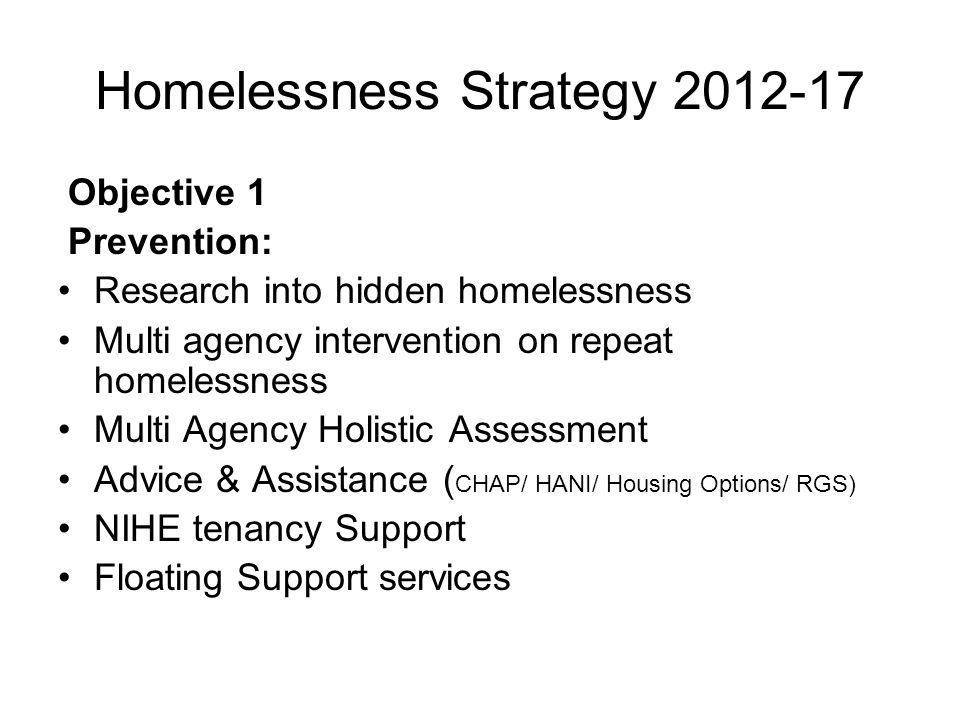 Homelessness Strategy 2012-17 Objective 1 Prevention: Research into hidden homelessness Multi agency intervention on repeat homelessness Multi Agency Holistic Assessment Advice & Assistance ( CHAP/ HANI/ Housing Options/ RGS) NIHE tenancy Support Floating Support services