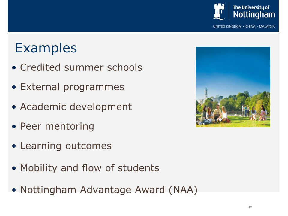 Credited summer schools External programmes Academic development Peer mentoring Learning outcomes Mobility and flow of students Nottingham Advantage Award (NAA) 10 Examples
