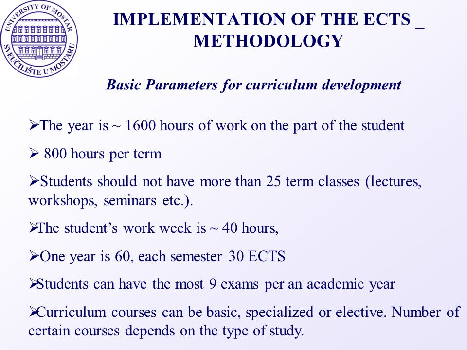 IMPLEMENTATION OF THE ECTS _ METHODOLOGY  The year is ~ 1600 hours of work on the part of the student  800 hours per term  Students should not have