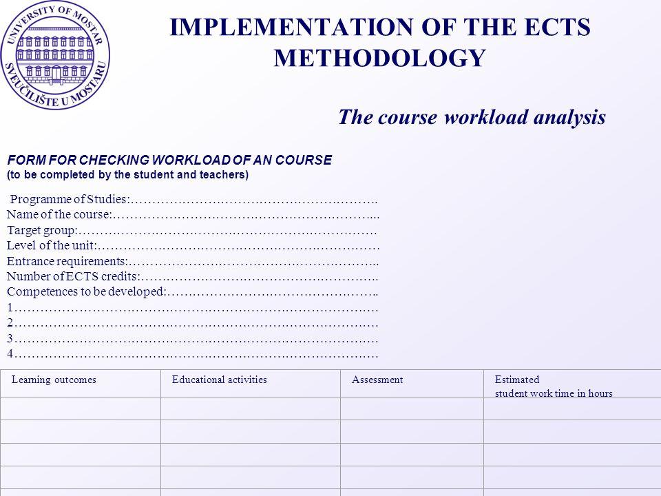 IMPLEMENTATION OF THE ECTS METHODOLOGY The course workload analysis FORM FOR CHECKING WORKLOAD OF AN COURSE (to be completed by the student and teache