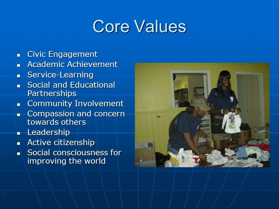Core Values Civic Engagement Civic Engagement Academic Achievement Academic Achievement Service-Learning Service-Learning Social and Educational Partnerships Social and Educational Partnerships Community Involvement Community Involvement Compassion and concern towards others Compassion and concern towards others Leadership Leadership Active citizenship Active citizenship Social consciousness for improving the world Social consciousness for improving the world