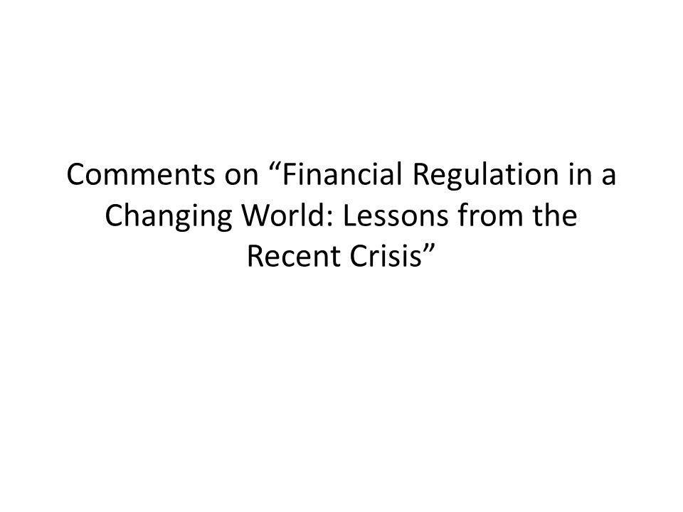 What Sort of Regulatory Reform.More regulators. More dynamic regulators.