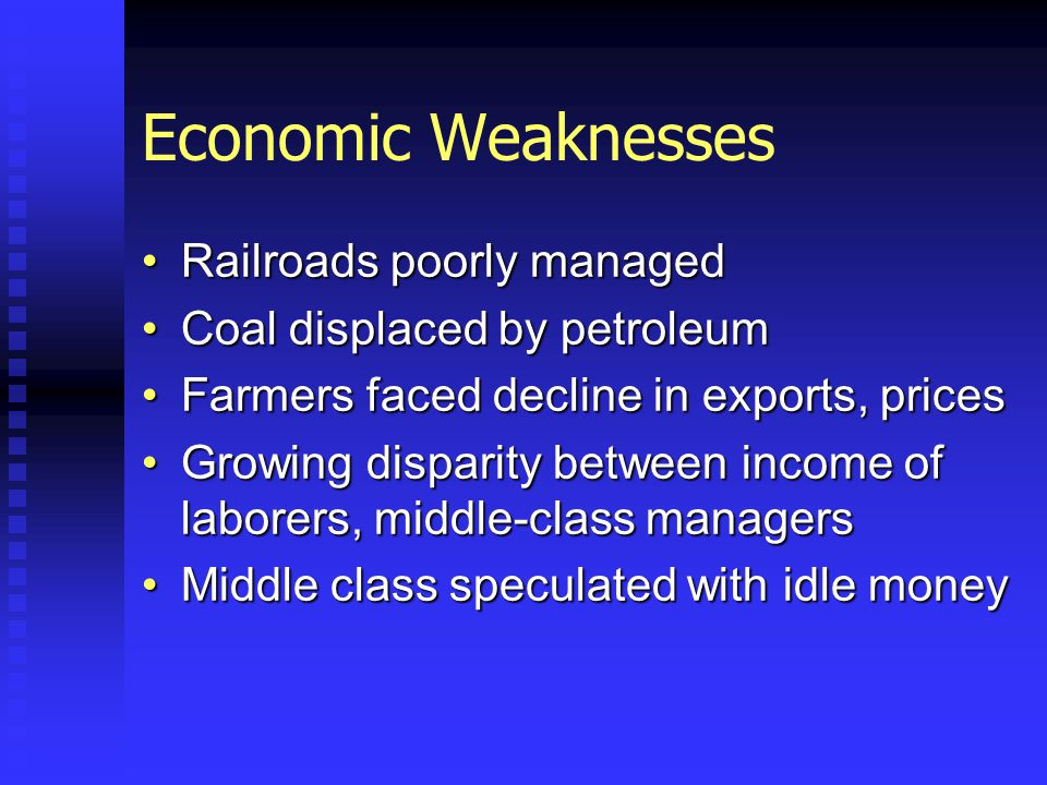Economic Weaknesses Railroads poorly managedRailroads poorly managed Coal displaced by petroleumCoal displaced by petroleum Farmers faced decline in exports, pricesFarmers faced decline in exports, prices Growing disparity between income of laborers, middle-class managersGrowing disparity between income of laborers, middle-class managers Middle class speculated with idle moneyMiddle class speculated with idle money