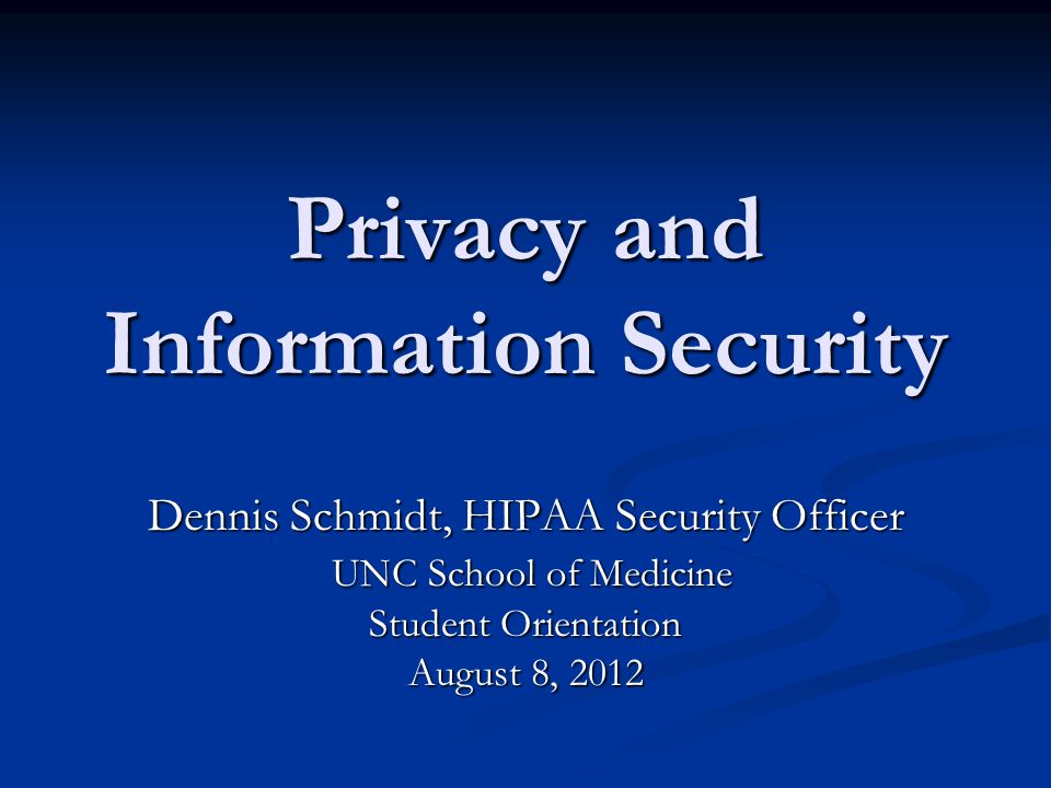 Agenda Privacy Privacy Information Security Information Security