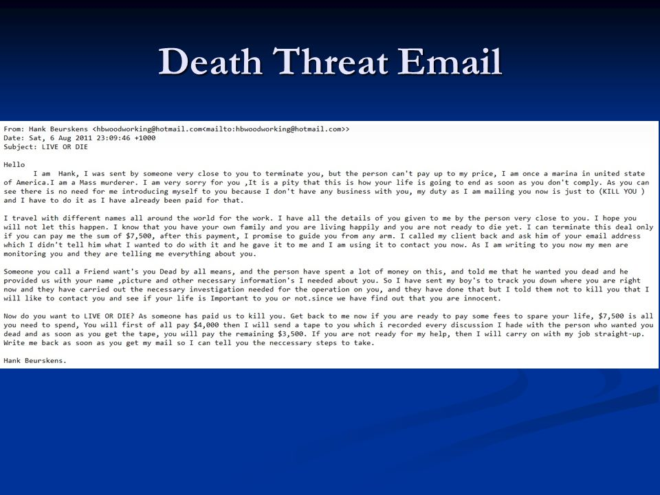 Death Threat Email