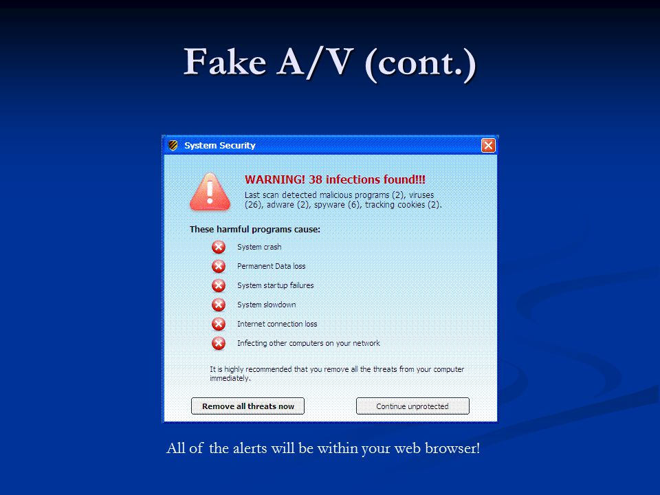 Fake A/V (cont.) All of the alerts will be within your web browser!