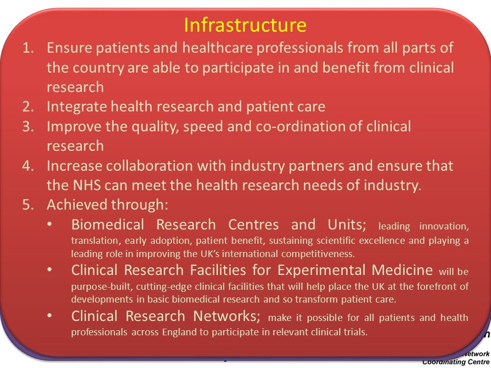 Clinical Research Networks National Institute for Health Research Infrastructure Clinical Research Facilities & Centres Clinical Research Networks Research Research Projects & Programmes Research Governance Systems Research Information Systems Systems Patients & Public Universities Investigators & Senior Investigators Associates Faculty Trainees Research Units & Schools NHS Trusts Research Commissioning and funding research focused on improving outcomes for health and social care Key objective is to improve the quality, relevance, and focus of research in the NHS and social care by distributing funds in a transparent way after open competition and peer review.