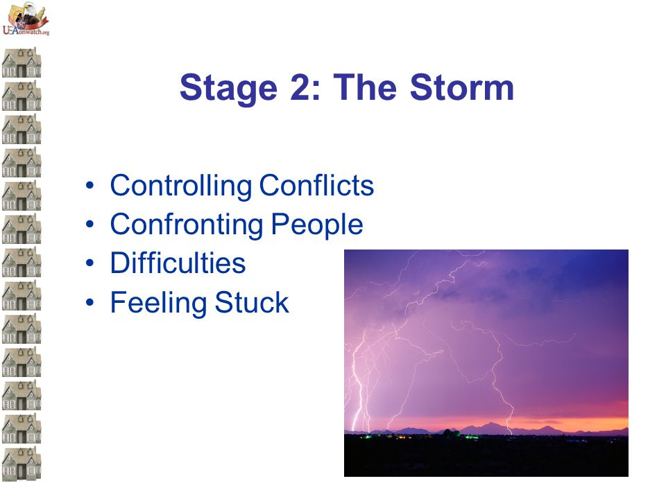 Stage 2: The Storm Controlling Conflicts Confronting People Difficulties Feeling Stuck