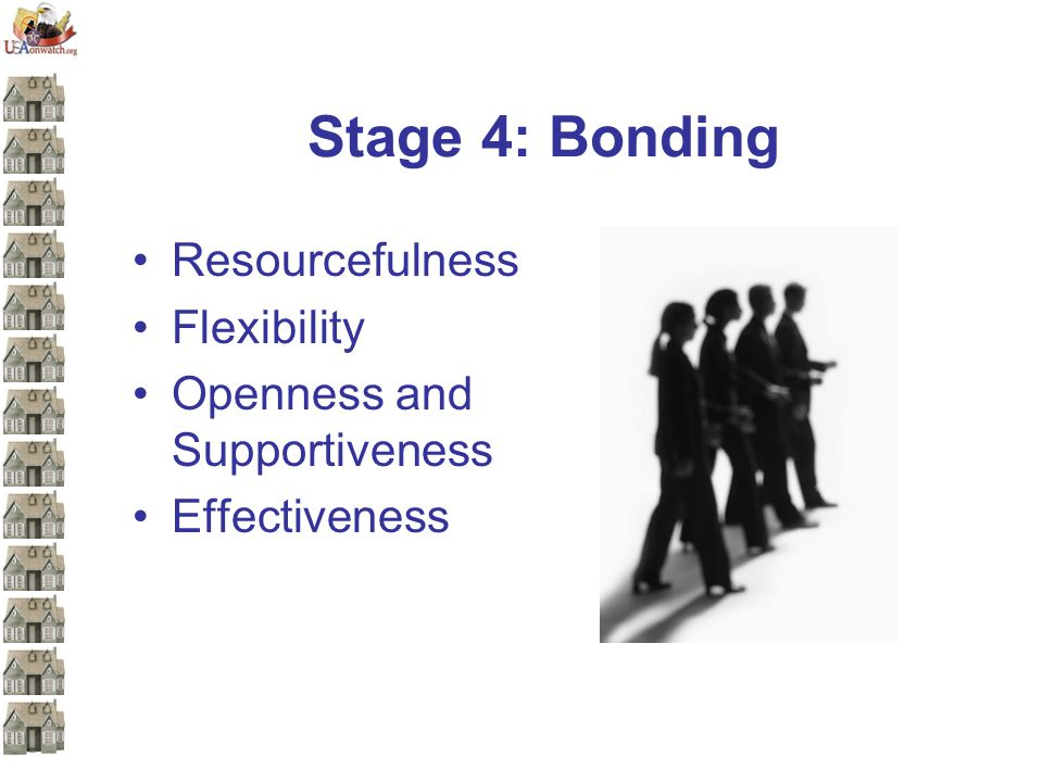 Stage 4: Bonding Resourcefulness Flexibility Openness and Supportiveness Effectiveness