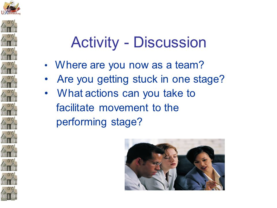 Activity - Discussion Where are you now as a team? Are you getting stuck in one stage? What actions can you take to facilitate movement to the perform