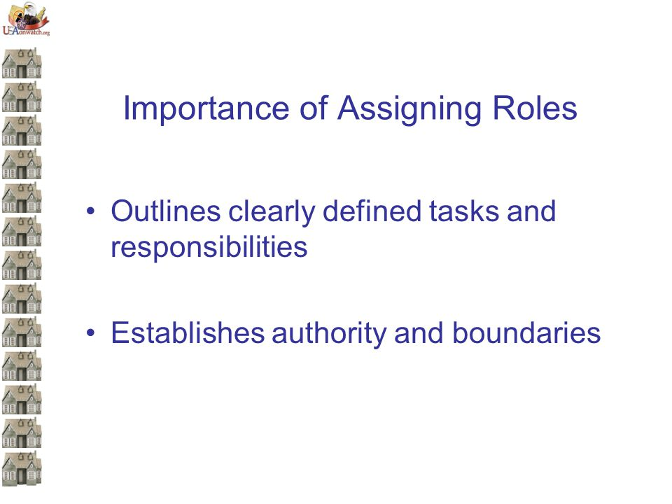 Importance of Assigning Roles Outlines clearly defined tasks and responsibilities Establishes authority and boundaries