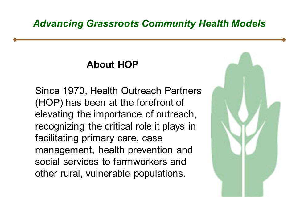 Advancing Grassroots Community Health Models About HOP Since 1970, Health Outreach Partners (HOP) has been at the forefront of elevating the importanc