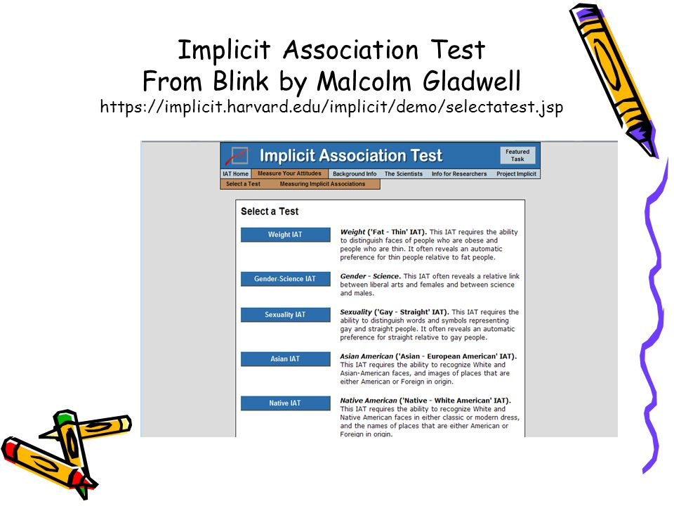 Implicit Association Test From Blink by Malcolm Gladwell https://implicit.harvard.edu/implicit/demo/selectatest.jsp