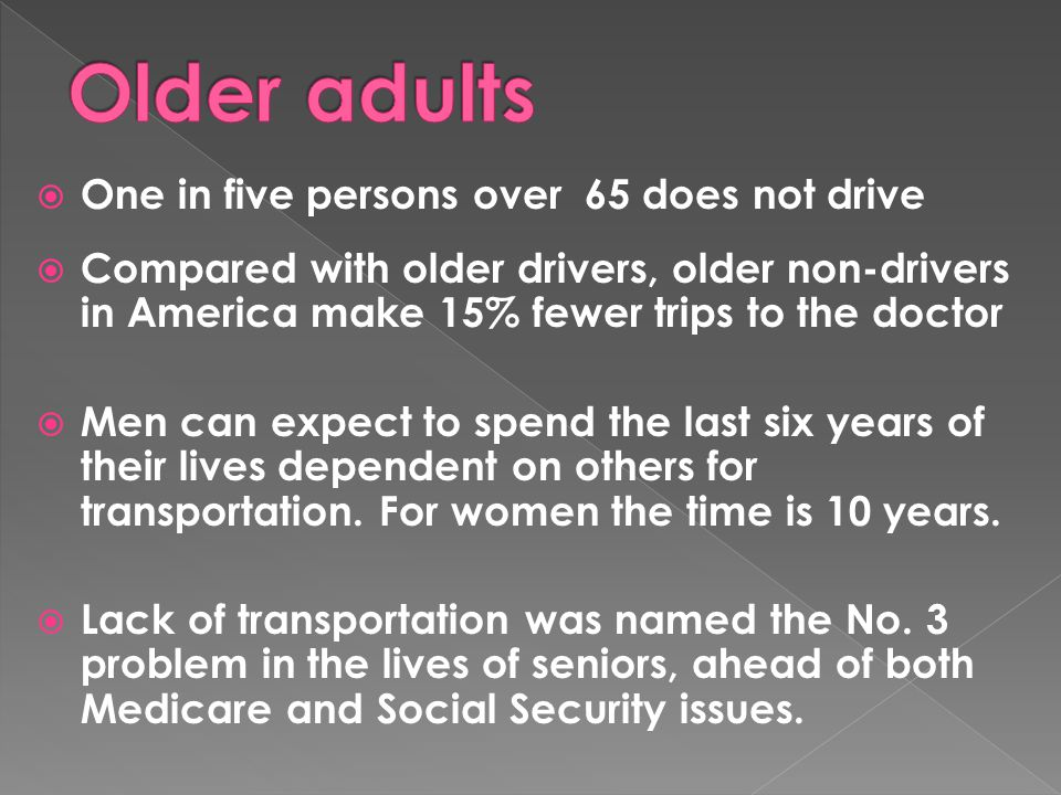  One in five persons over 65 does not drive  Compared with older drivers, older non-drivers in America make 15% fewer trips to the doctor  Men can
