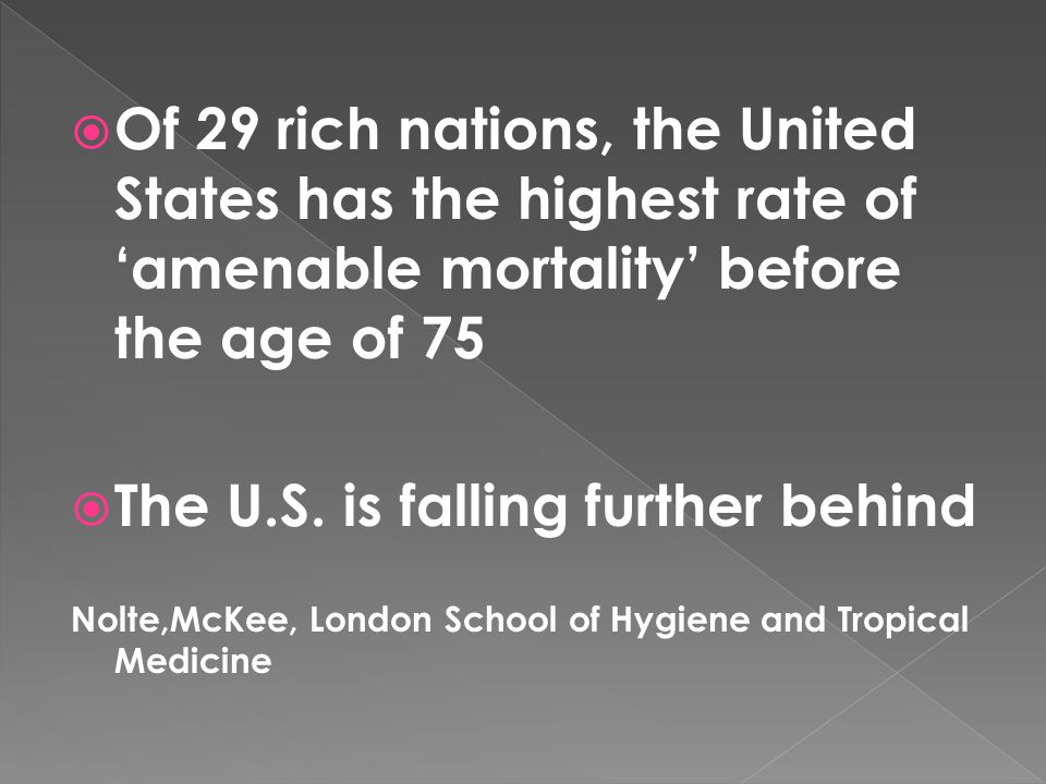  Of 29 rich nations, the United States has the highest rate of 'amenable mortality' before the age of 75  The U.S. is falling further behind Nolte,M