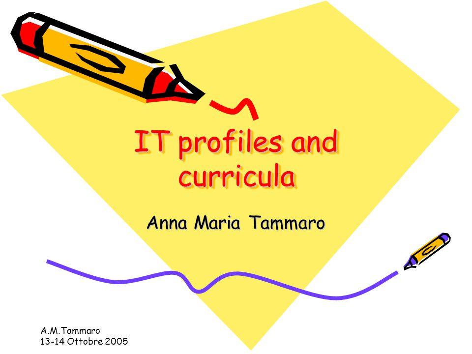A.M.Tammaro 13-14 Ottobre 2005 IT profiles and curricula Anna Maria Tammaro
