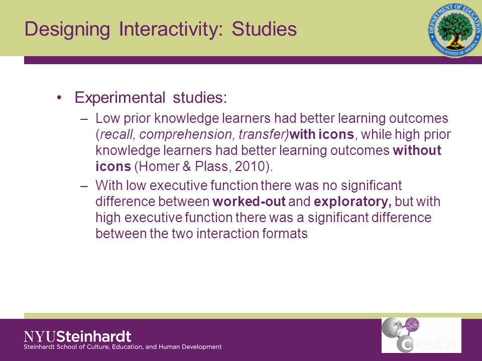 Designing Interactivity: Studies Experimental studies: –Low prior knowledge learners had better learning outcomes (recall, comprehension, transfer)with icons, while high prior knowledge learners had better learning outcomes without icons (Homer & Plass, 2010).