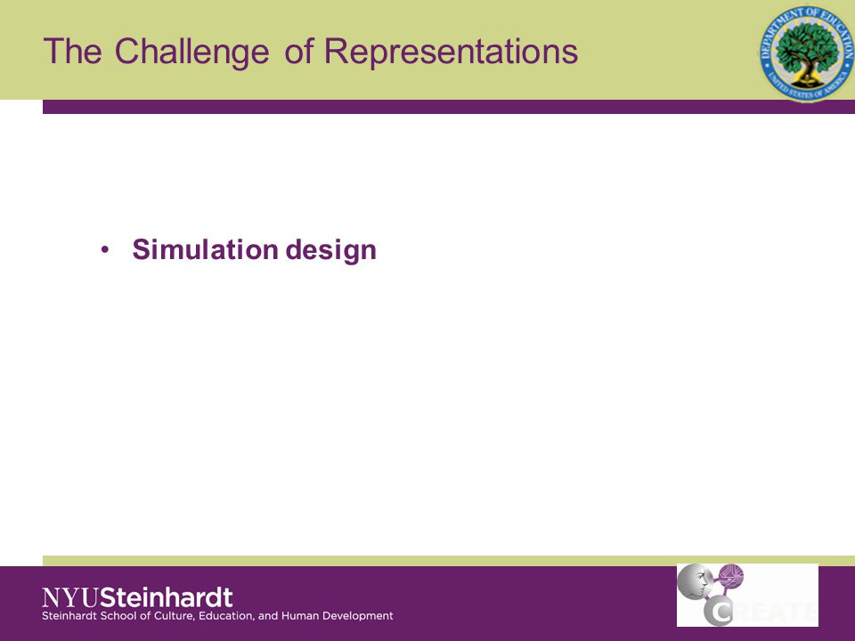 The Challenge of Representations Simulation design