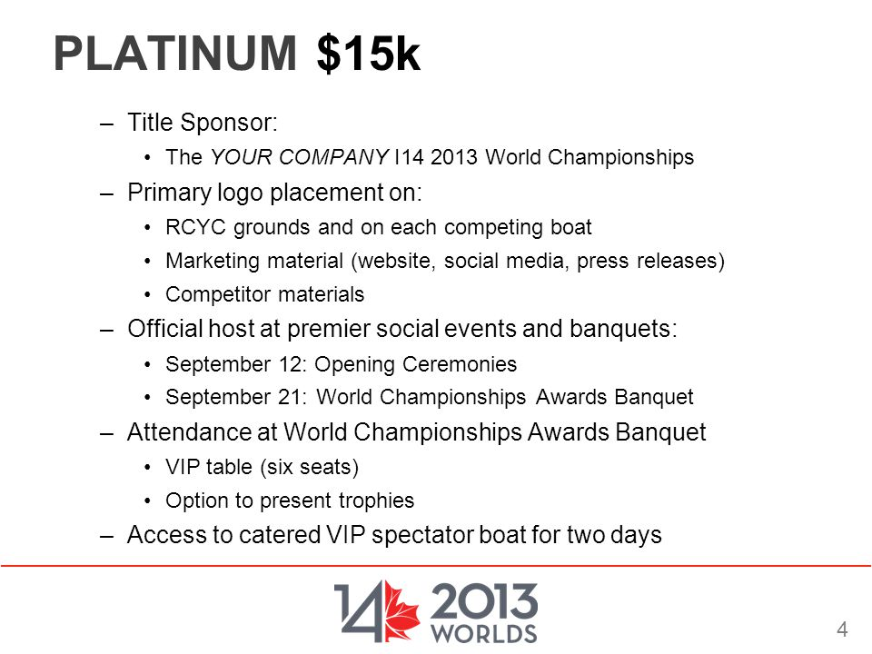 4 PLATINUM $15k –Title Sponsor: The YOUR COMPANY I14 2013 World Championships –Primary logo placement on: RCYC grounds and on each competing boat Mark