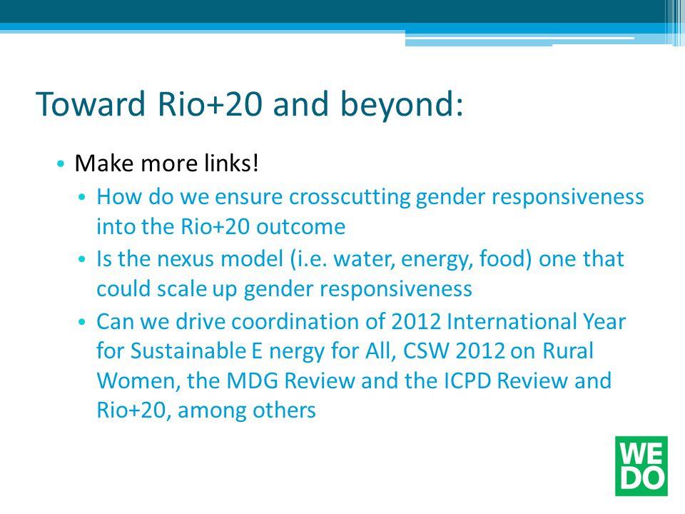 Toward Rio+20 and beyond: Make more links.