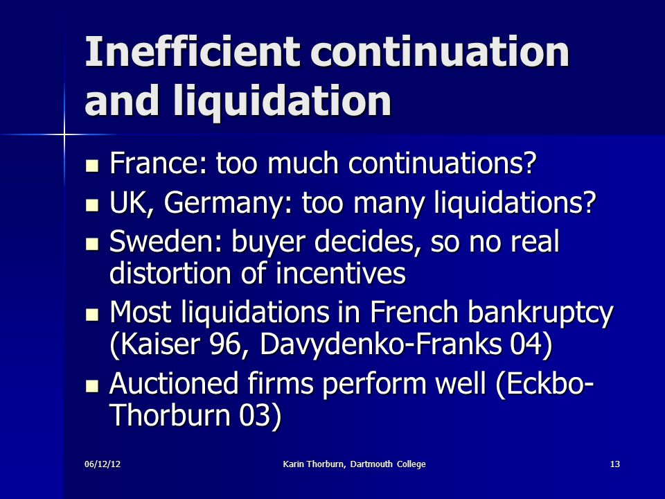 06/12/12Karin Thorburn, Dartmouth College13 Inefficient continuation and liquidation France: too much continuations.
