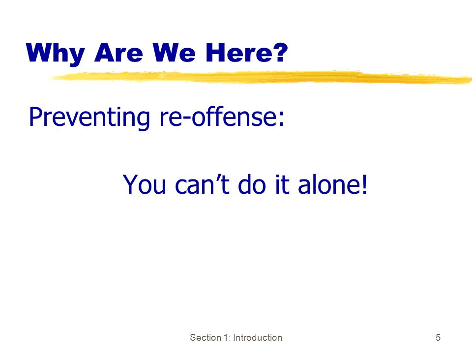 Section 1: Introduction5 Why Are We Here Preventing re-offense: You can't do it alone!