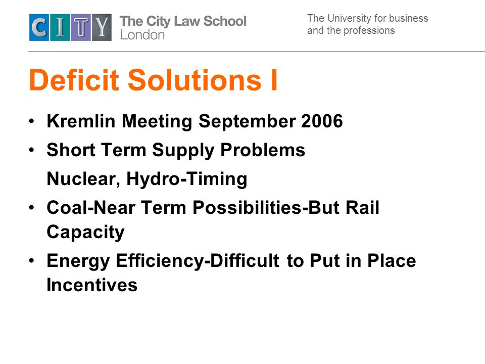 The University for business and the professions Deficit Solutions I Kremlin Meeting September 2006 Short Term Supply Problems Nuclear, Hydro-Timing Coal-Near Term Possibilities-But Rail Capacity Energy Efficiency-Difficult to Put in Place Incentives