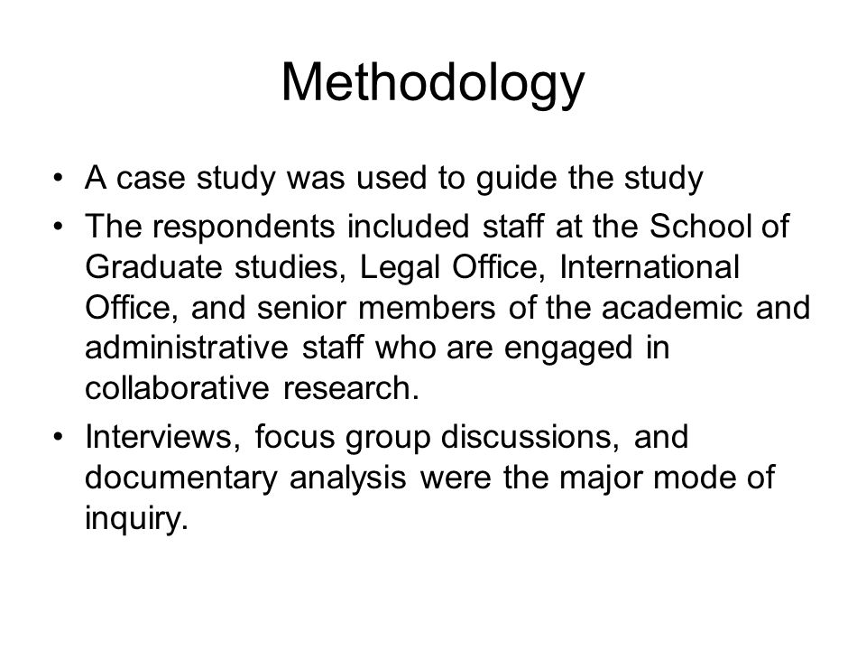 Methodology Data was coded and organized into meaningful categories for easy interpretation.