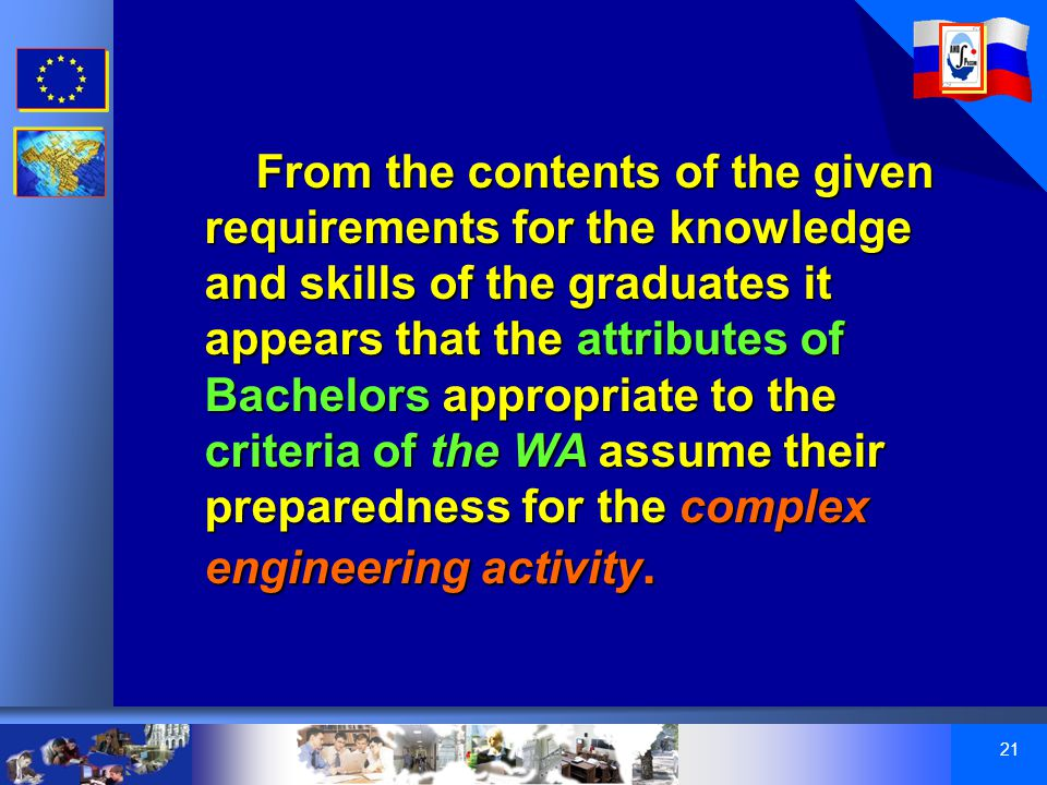 21 From the contents of the given requirements for the knowledge and skills of the graduates it appears that the attributes of Bachelors appropriate to the criteria of the WA assume their preparedness for the complex engineering activity.