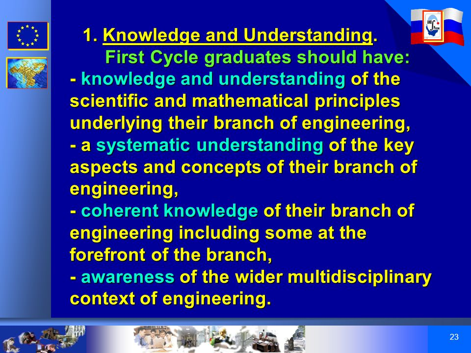23 1. Knowledge and Understanding.