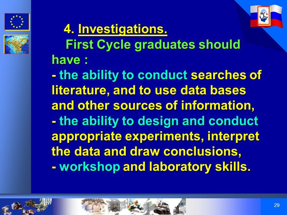 29 4. Investigations.