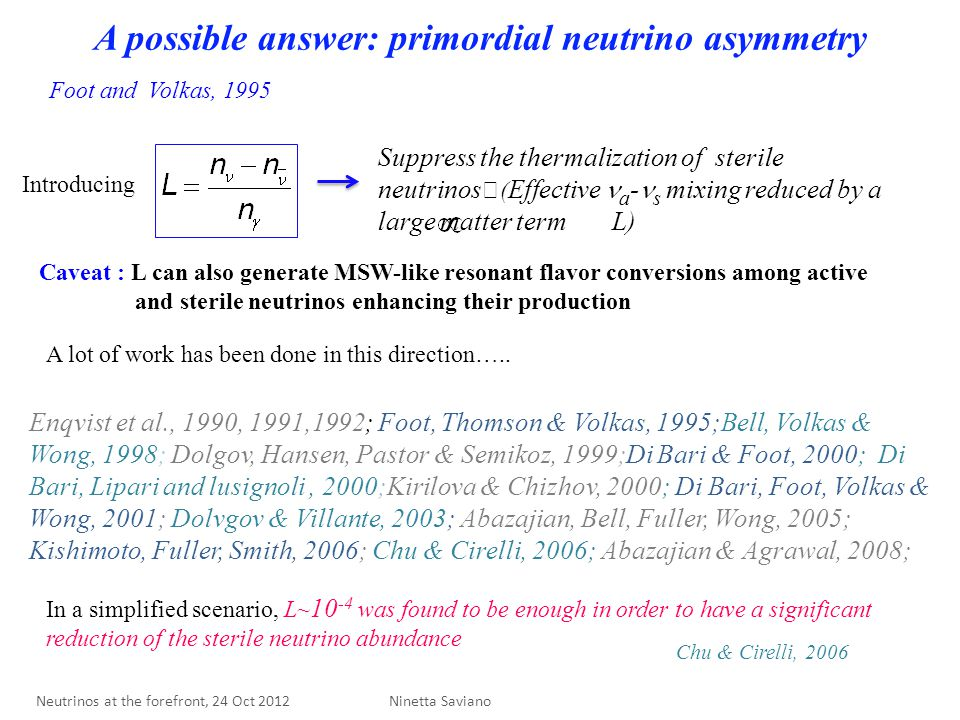 A possible answer: primordial neutrino asymmetry Introducing Suppress the thermalization of sterile neutrinos ( Effective a - s mixing reduced by a large matter term L) Foot and Volkas, 1995 Caveat : L can also generate MSW-like resonant flavor conversions among active and sterile neutrinos enhancing their production A lot of work has been done in this direction…..