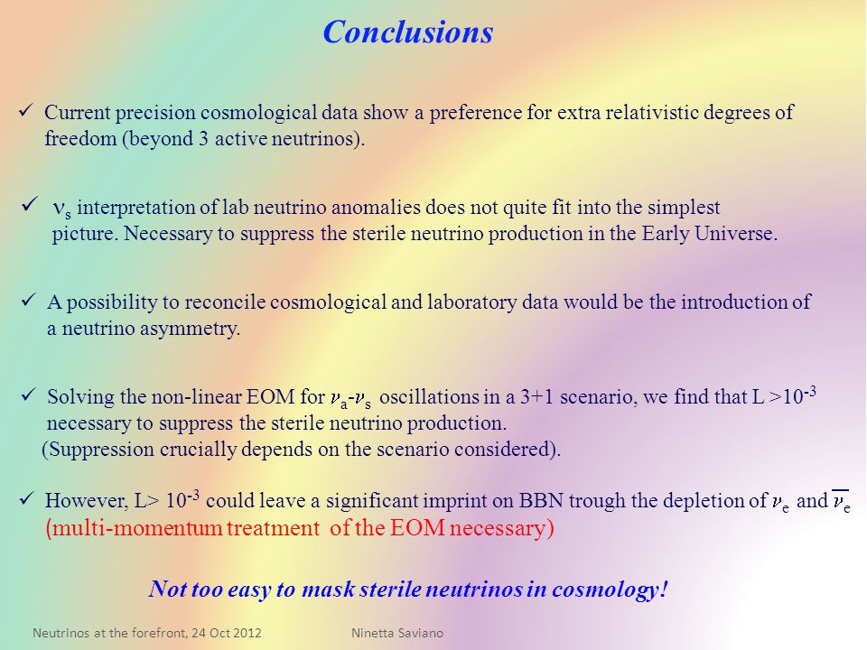 Conclusions Current precision cosmological data show a preference for extra relativistic degrees of freedom (beyond 3 active neutrinos).